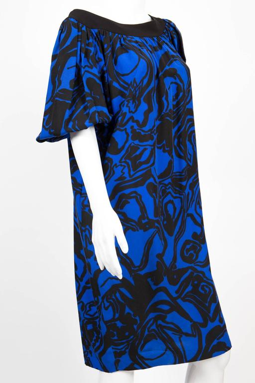 1980s Saint Laurent Printed Silk Dress  In Excellent Condition For Sale In Paris, FR