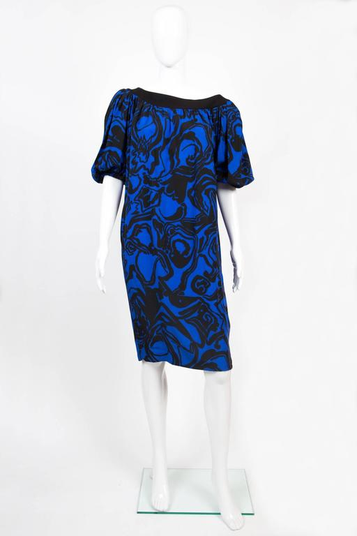 1980s Saint Laurent Printed Silk Dress  2