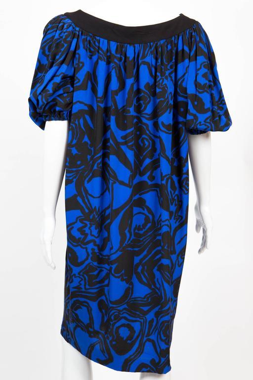 Women's 1980s Saint Laurent Printed Silk Dress  For Sale