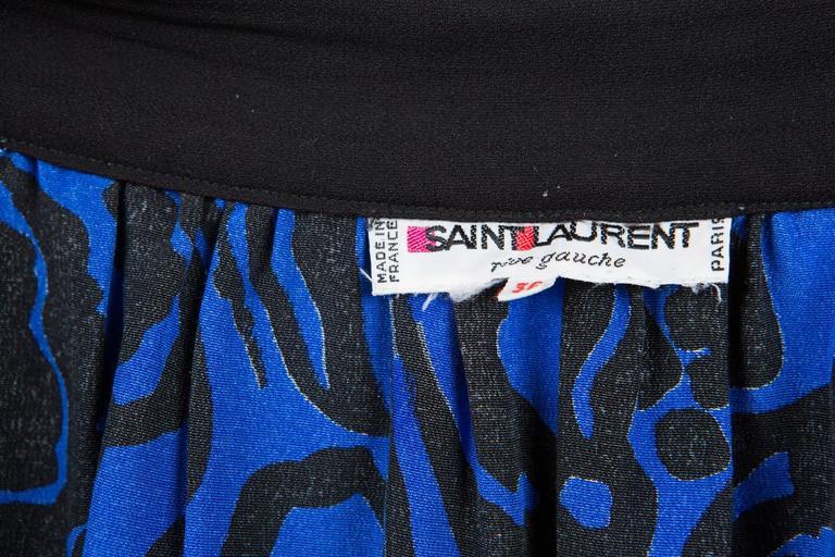 1980s Saint Laurent Printed Silk Dress  6