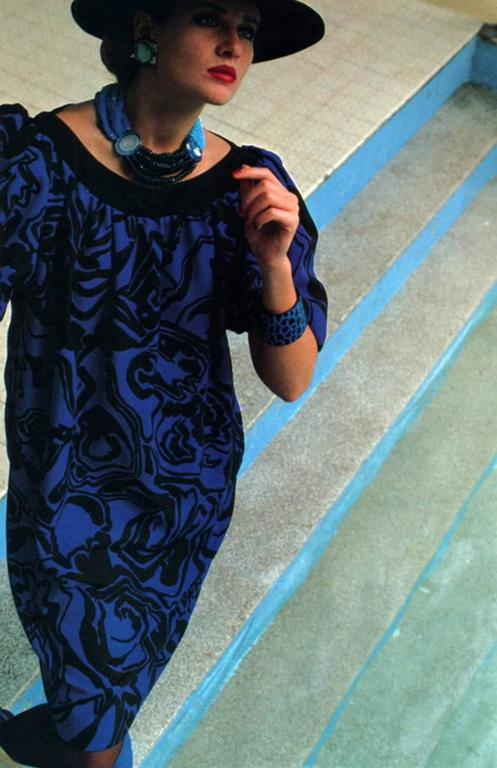 Purple 1980s Saint Laurent Printed Silk Dress  For Sale