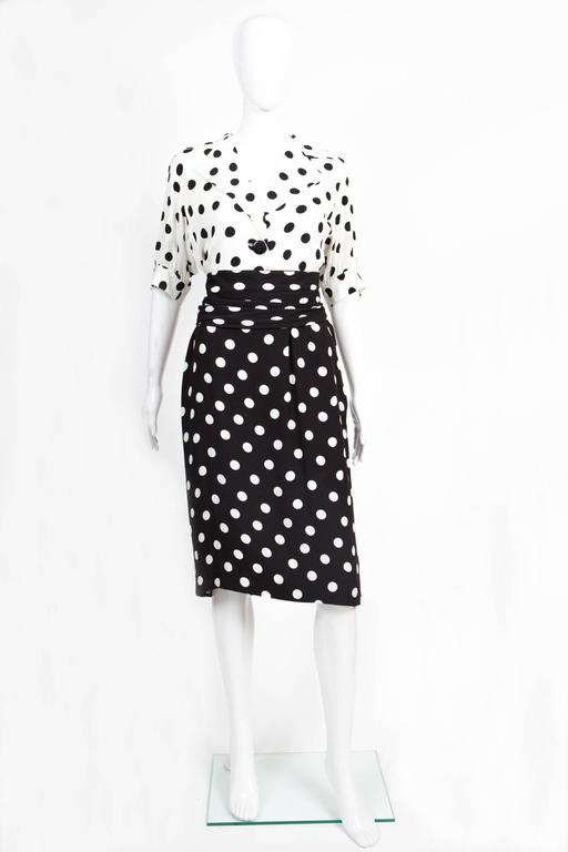 1986s Saint Laurent Dot Print Dress 2