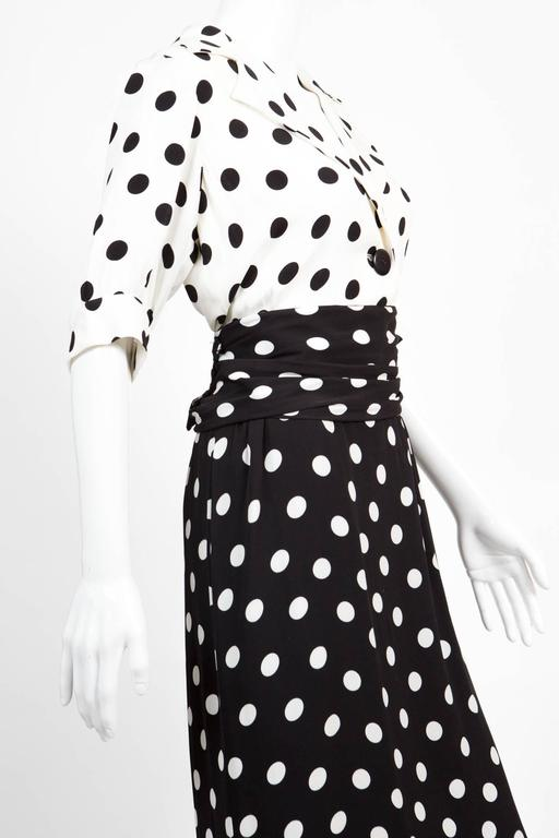 1986s Saint Laurent Dot Print Dress 3