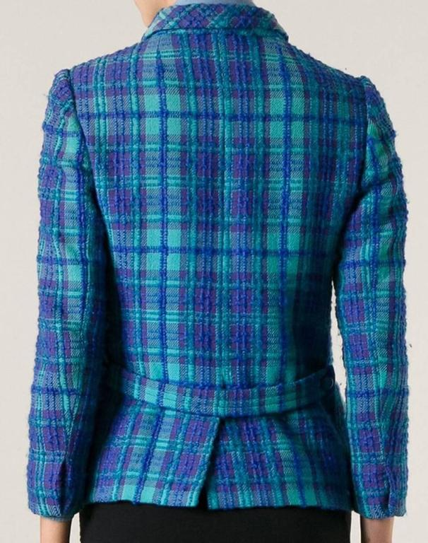 Philippe Venet Blue Woven Wool Jacket, 1960s  In Good Condition For Sale In Paris, FR