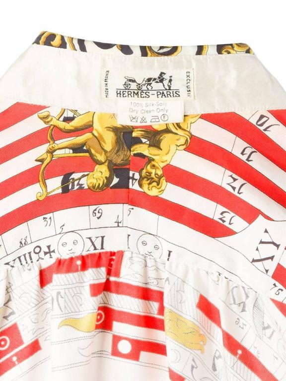 1984s Hermes Dies et Hores Silk Shirt   6