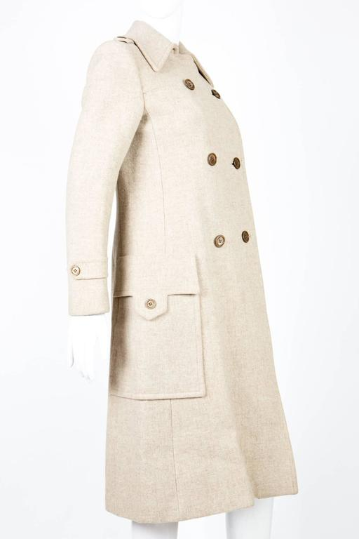 Beige 1960s Ted Lapidus Ivory Wool Coat For Sale
