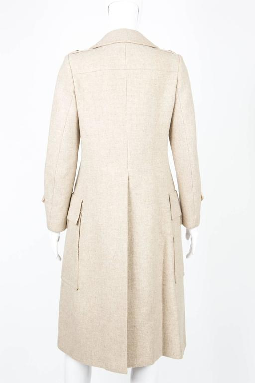 1960s Ted Lapidus Ivory Wool Coat In Good Condition For Sale In Paris, FR