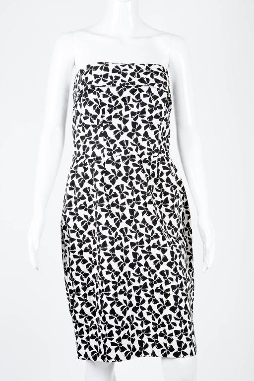 1990s Saint Laurent Strapless Cocktail Printed Dress 2