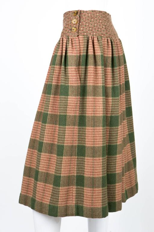 Brown 1970s Lanvin Check Wool Skirt For Sale