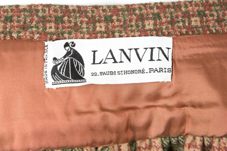 1970s Lanvin Check Wool Skirt For Sale 1
