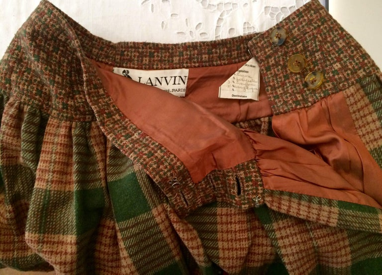 Women's 1970s Lanvin Check Wool Skirt For Sale