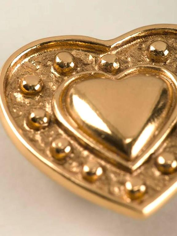 Yves Saint Laurent Heart Earrings In Excellent Condition For Sale In Paris, FR