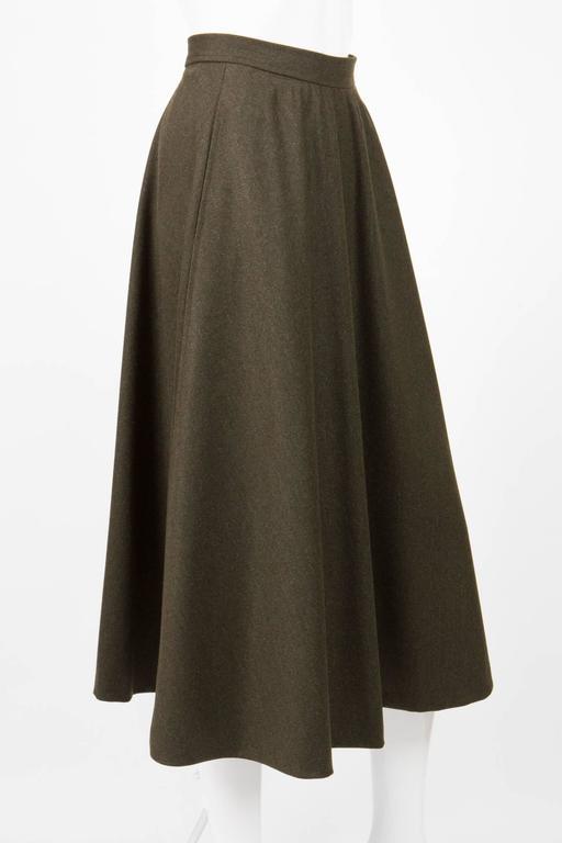 Black Saint Laurent Khaki Large Wool Skirt For Sale