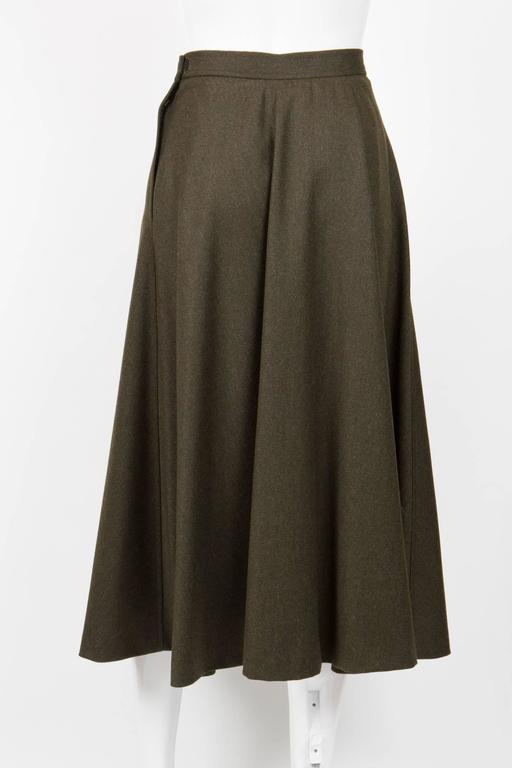 Saint Laurent Khaki Large Wool Skirt In Excellent Condition For Sale In Paris, FR