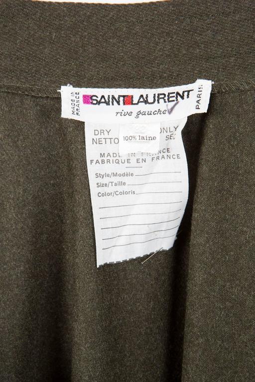 Women's Saint Laurent Khaki Large Wool Skirt For Sale
