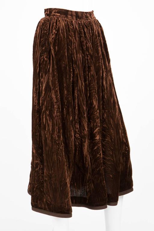 Black Rare Saint Laurent Brown Russian Collection Velveteen  Skirt For Sale