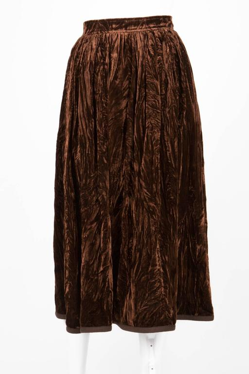 Rare Saint Laurent Brown Russian Collection Velveteen  Skirt In Excellent Condition For Sale In Paris, FR
