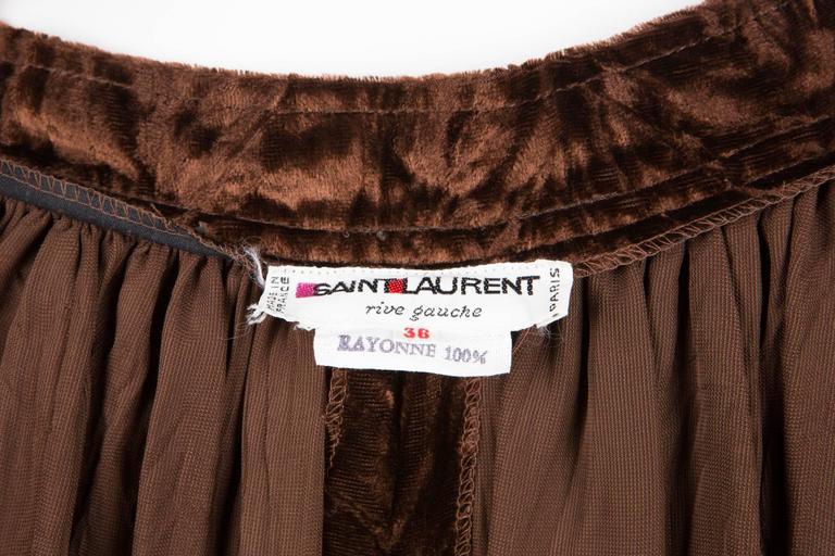 Women's Rare Saint Laurent Brown Russian Collection Velveteen  Skirt For Sale
