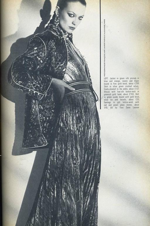 Rare Saint Laurent Brown Russian Collection Velveteen  Skirt For Sale 1
