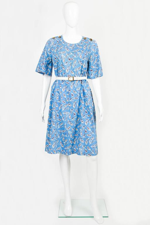 1980s Yves Saint-Laurent Blue Printed Tulip Dress 2