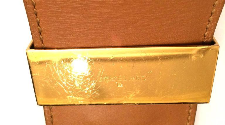 Orange Hermes Black Calfskin Leather Collier de Chien Medor Belt 75cm For Sale