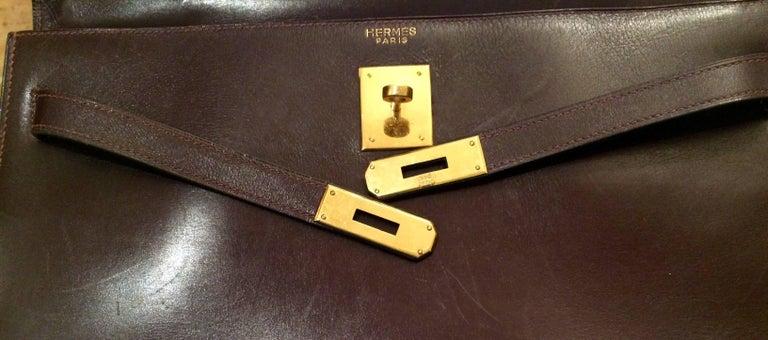 Hermes Cherry Box Calf Kelly 35cm Tote Bag For Sale 3