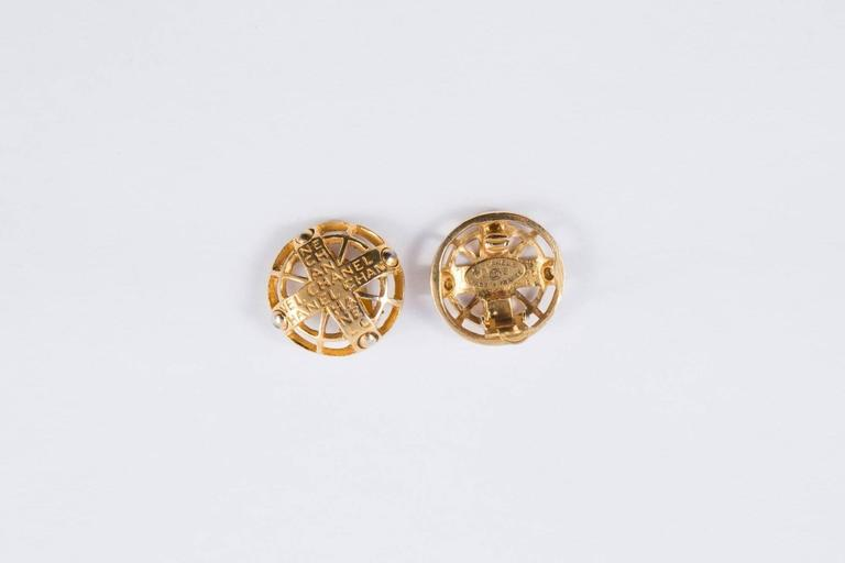 Chanel Logo Gold Tone Clip On Earrings 2