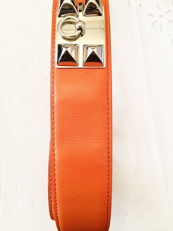 Gorgeous Hermes Orange Calfskin Leather Collier de Chien Medor Belt 75cm 4