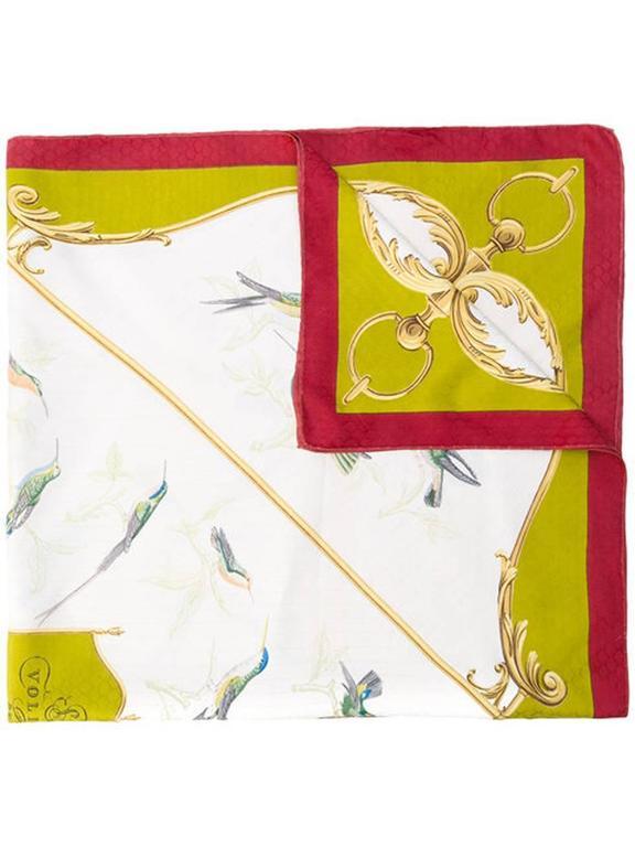 1960s Hermes A La volière Des Dames silk scarf For Sale 1