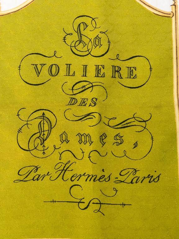 1960s Hermes A La volière Des Dames silk scarf For Sale 2