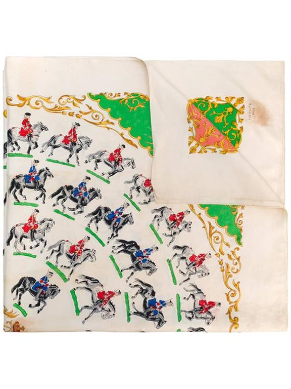 1930s extremely rare Hermès  ivory silk scarf  featuring an multico corners and riders scenic print. 90cm x 90cm  Made in France. We guarantee you will receive this gorgeous  iconic as described and showed on photos, Due to his age, please see all