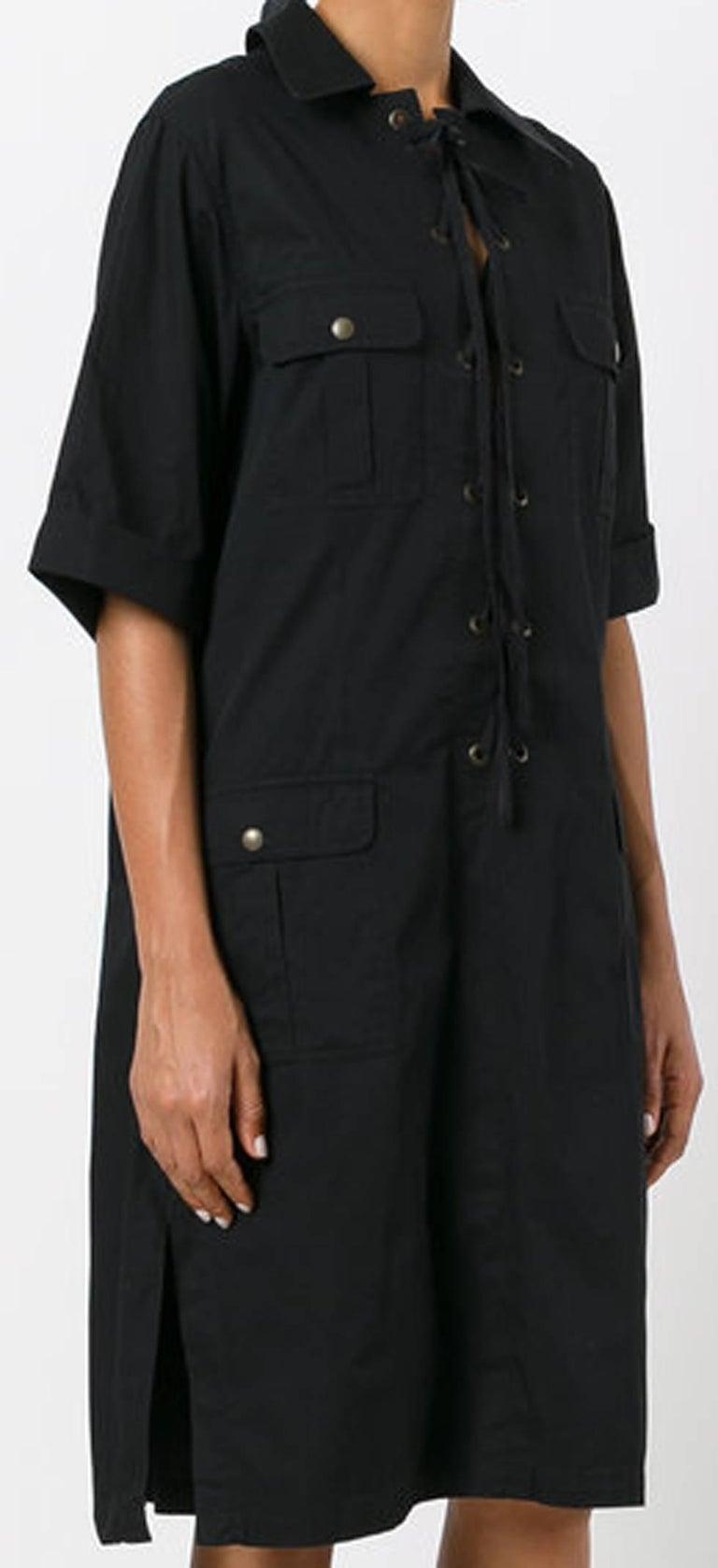 Gray Yves Saint Laurent Black Cotton Safari Dress  For Sale