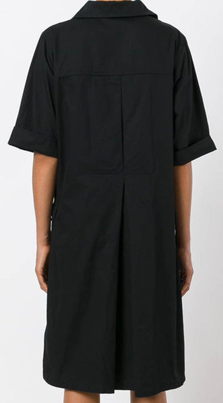 Yves Saint Laurent Black Cotton Safari Dress  In Excellent Condition For Sale In Paris, FR