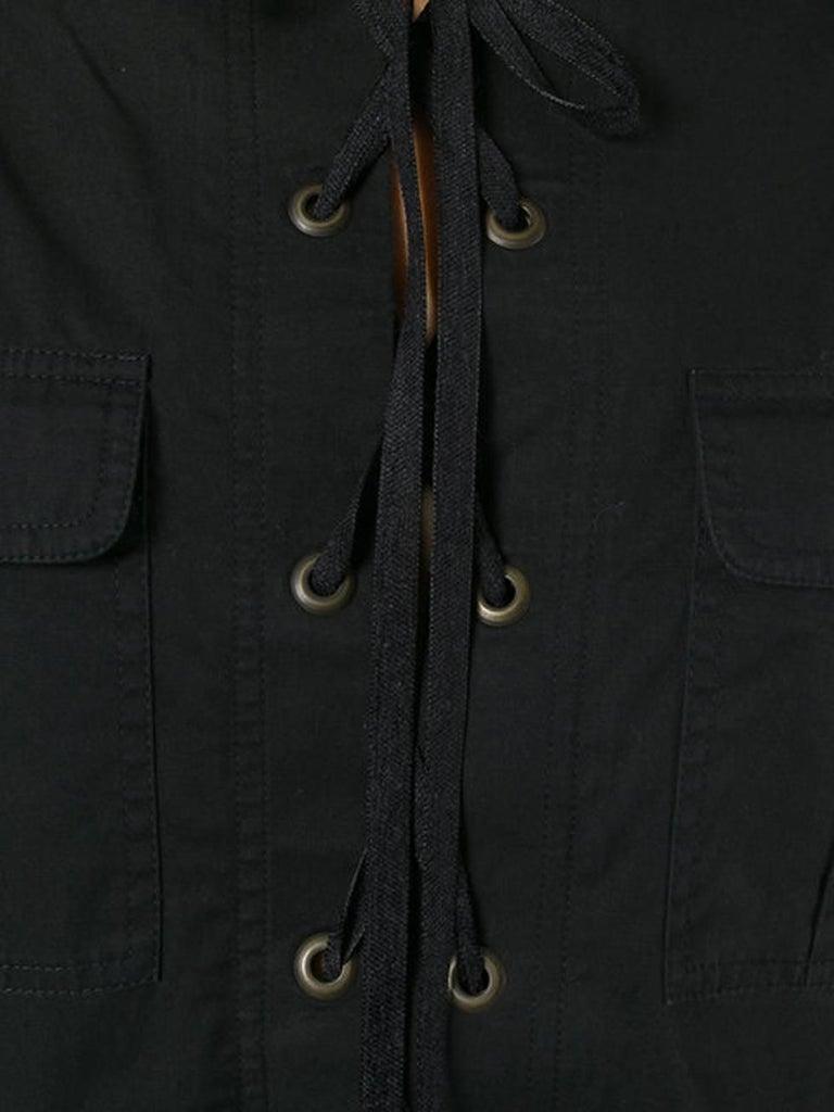 Women's Yves Saint Laurent Black Cotton Safari Dress  For Sale