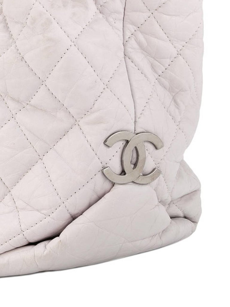 Black Large Off White Chanel Quilted Lambskin Tote Bag For Sale