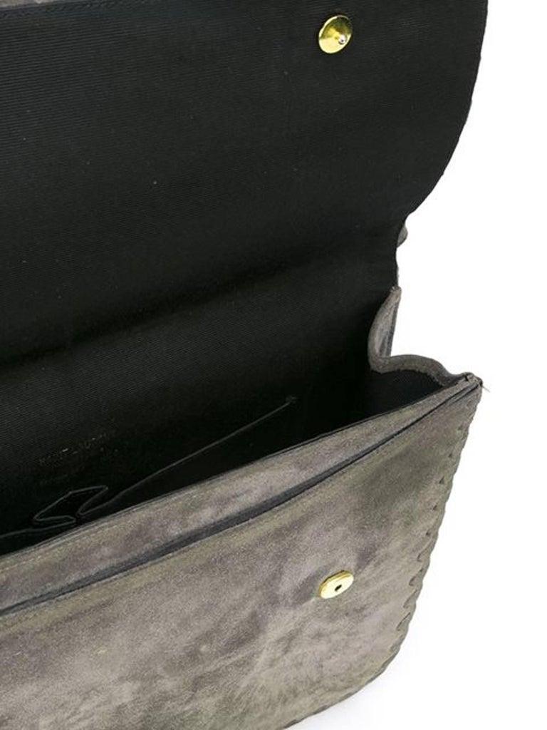 1970 s Grey Saint Laurent Shoulder Suede Bag In Excellent Condition For Sale In Paris, FR