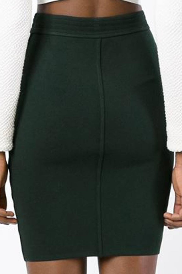 Black  1980s Azzedine Alaia Green Pencil Skirt  For Sale