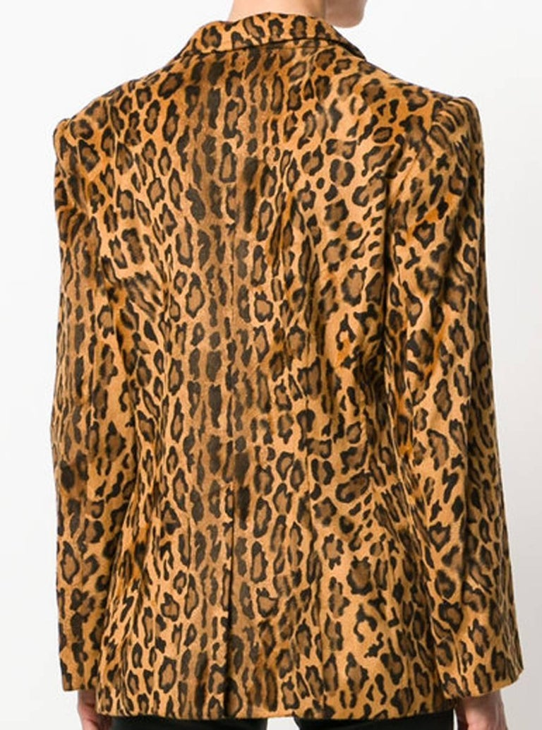 Gray Moschino Leopard Animal Print Blazer For Sale