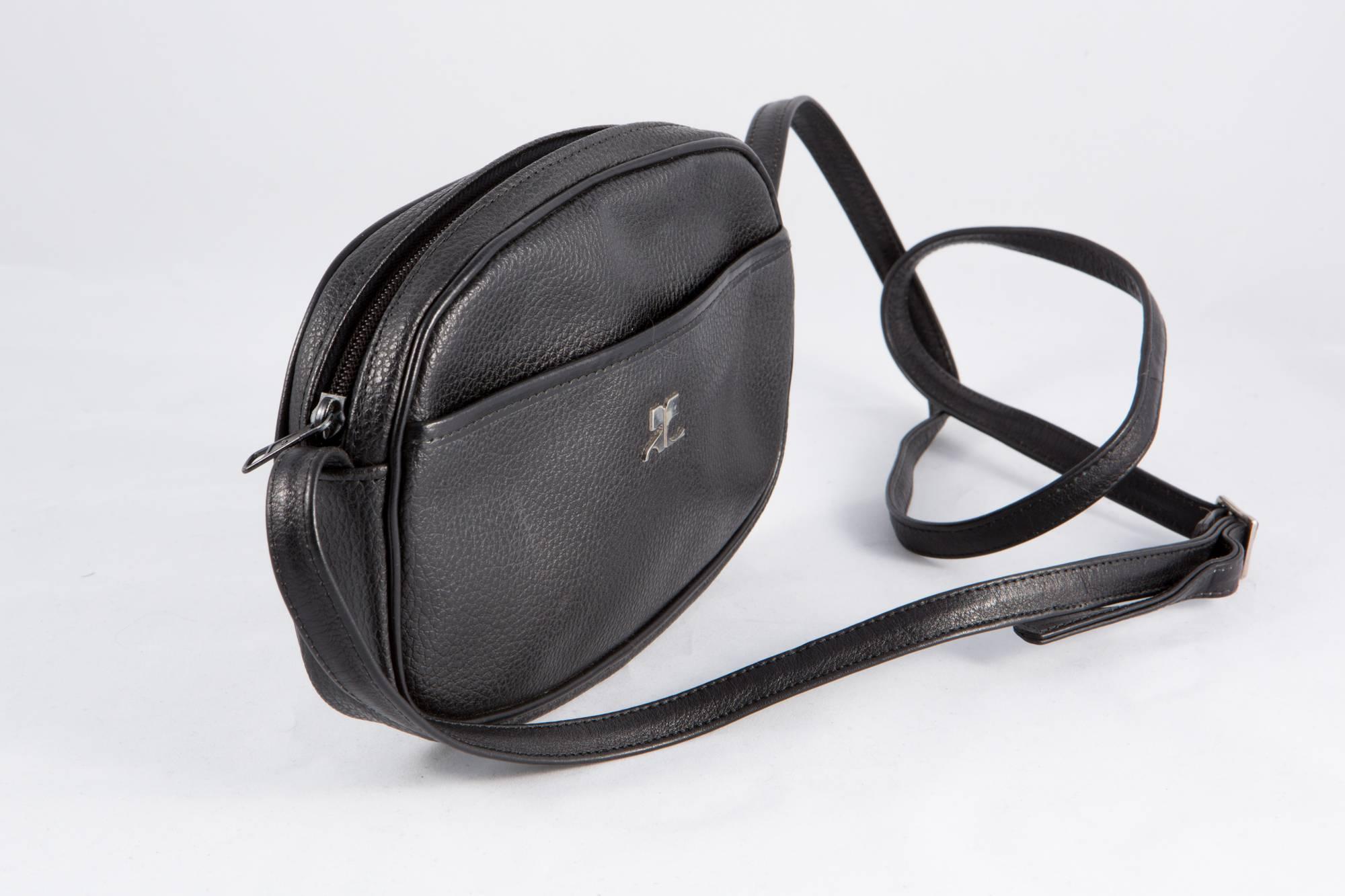 André Courrèges Black Patent Courreges Camera Crossbody Bag oMvqvMctv
