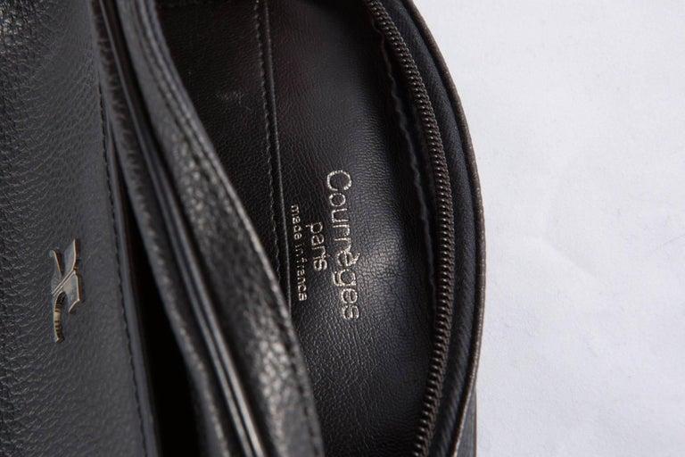 Black Courreges Leather Shoulder Bag 4