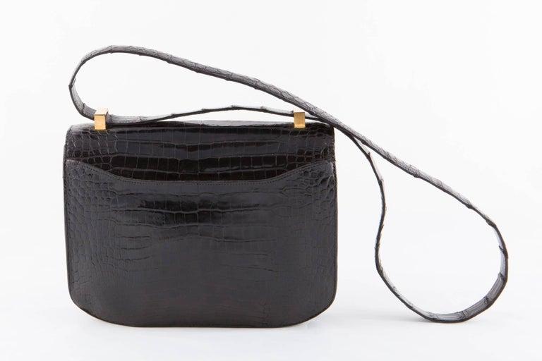 Green 1960s Black Hermes Constance H Shoulder Bag For Sale