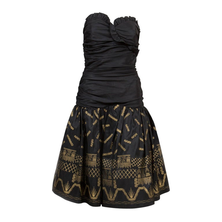 Zandra Rhodes  Silk Taffeta Black and Gold Painted Evening Dress