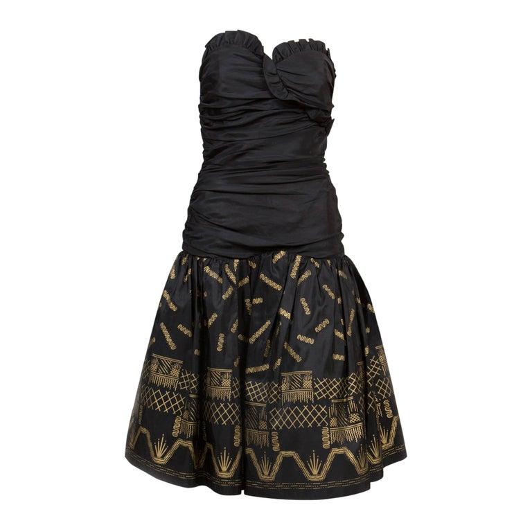Zandra Rhodes  Silk Taffeta Black and Gold Painted Evening Dress For Sale