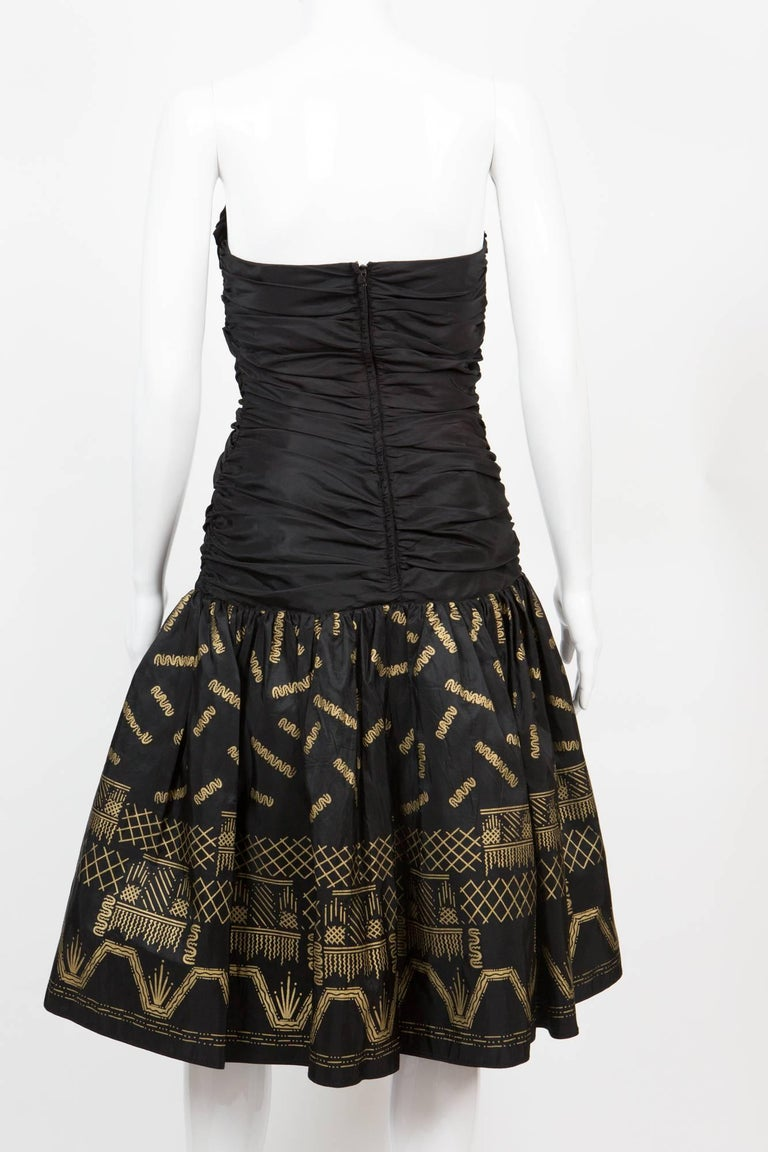 Women's Zandra Rhodes  Silk Taffeta Black and Gold Painted Evening Dress For Sale