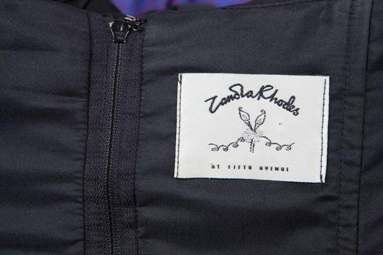 Zandra Rhodes  Silk Taffeta Black and Gold Painted Evening Dress For Sale 1