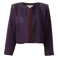 Yves Saint Laurent Purple Lamb Suede Bolero Jacket