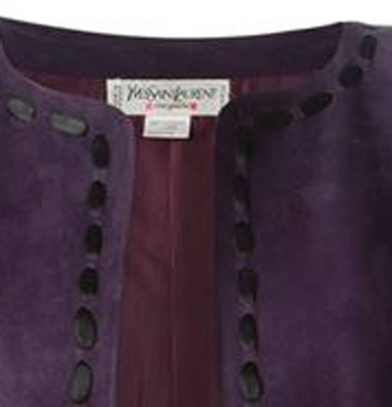 Black Yves Saint Laurent Purple Lamb Suede Bolero Jacket  For Sale