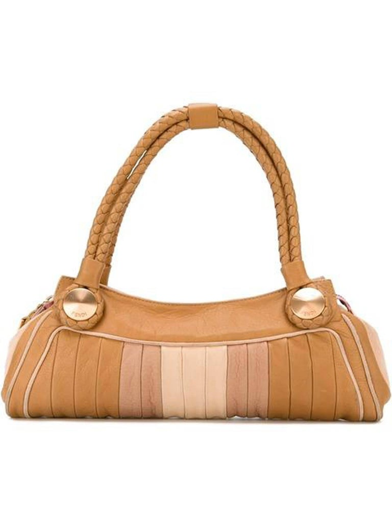 Fendi pastel leather paneled tote baguette bag featuring a ribbed design, a contrast piped trim, bronze-tone hardware, braided handles, a top zip fastening, an internal slip pocket and an internal logo plaque.  In excellent vintage condition. Made