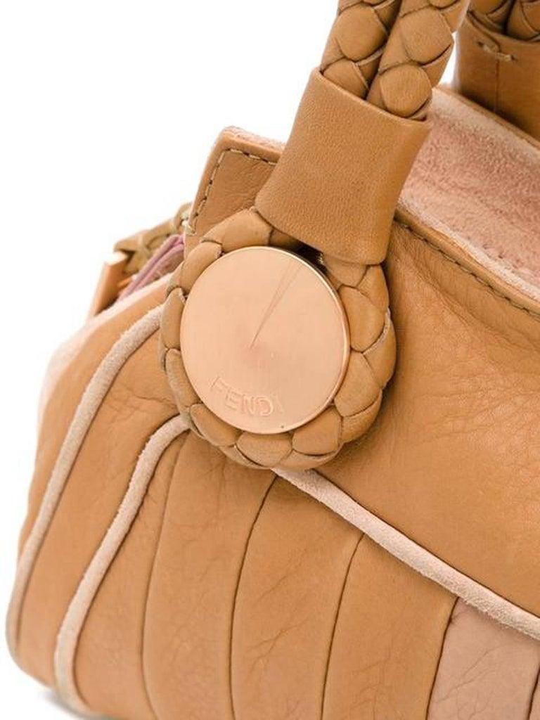 Brown Fendi Pastel Leather Baguette Tote Bag