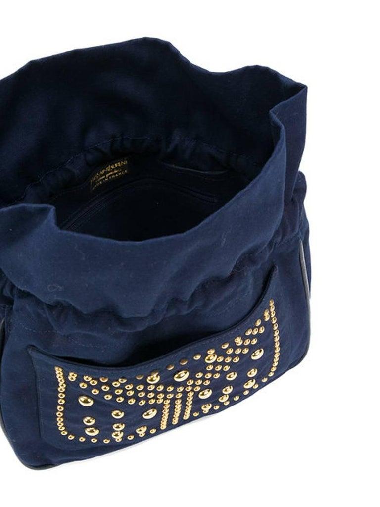 d8d7be7c53a0 Yves Saint Laurent Navy cotton Bag In Excellent Condition For Sale In  Paris